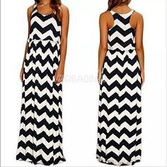 Tank Style Chevron Maxidress  NEW! Black and white chevron. Cinched waist to hug your curves. Marked XL but would fit a size large best. My model is a size large (in pic #3). NWOT only worn to model. Boutique Dresses Maxi