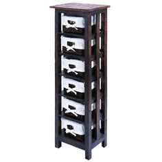 Store your favorite books, stationary and other items with this practical and stylish wooden storage unit. This tall six-shelf unit is the perfect size to place anywhere in a room to add both functionality and visual appeal.
