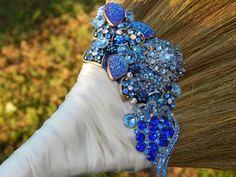 'Something Blue' Jeweled Wedding Broom #bridesnbrooms on Etsy. $128, but so pretty you can display it forever in your home.