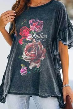 Casual Rose Letter Print Paneled Bell Sleeves Ruffled T-shirt - Shopingnova Ruffle Collar, Bell Sleeves, Short Sleeves, Fish Print, Giraffe Print, Butterfly Print, Casual T Shirts, Printed Shorts, Fashion News