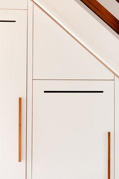 under stair storage, melamine faced ply, iroko handles, Farrow & Ball 'pink ground'