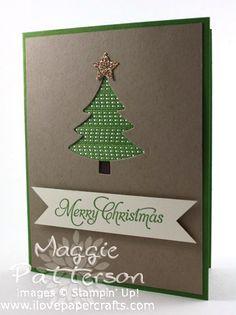 Ribbon Christmas tree card by adhering strips of ribbon behind diecut shape.