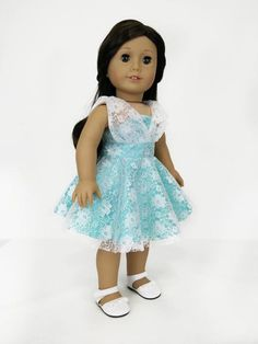 Mint Lace Dress for American Girl Dolls.