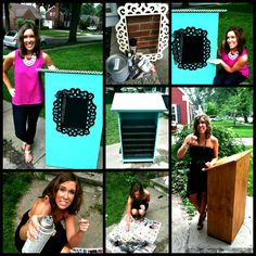 Crafting project of the week!  I painted my boring podium teal and used chalkboard paint and a frame on the front!  Check out The SuperHERO Teacher's Facebook page for more cute crafts like this.  Just click the picture!