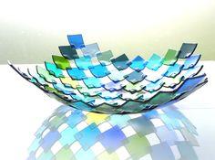Platón cuadritos verde |  | Arte en Vidrio Costa Rica