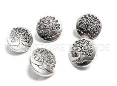 lot de 5 boutons ronds en métal décoré d'un arbre couleur gris argenté vieiili 14 mm : Boutons par une-histoire-de-mode