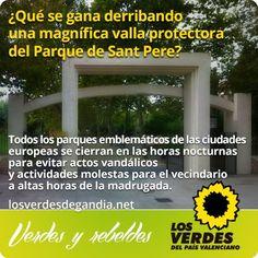 Los Verdes manifiestan su oposición al derribo de la valla del Parque de Sant Pere (Alqueria Nova)