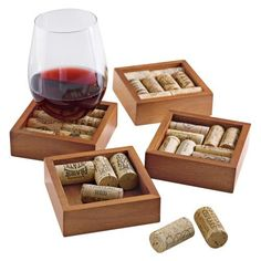 $17.95-$22.59 Wine Cork Coasters Kit -Set of 4 - Preserves memories and tabletops  too!   Fill these coasters with keepsake corks so only wine memories remain  not furniture stains. A fun  eco-friendly way to turn your love for wine into handsome home accents. We supply the solid mahogany frames and instructions. You supply the wine corks and imagination! Mahogany sourced from sustainable tree p ...