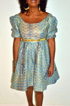 Blue Ankara Print African Dress