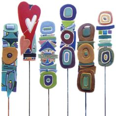 PLANT STAKES:  Fused glass totems... @melissa schulman!