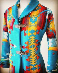 Couture Shawl Collar Navajo Wool Blanket Coat
