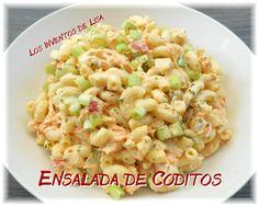 La ensalada de coditos es un clásico en   PR para todo tipo actividad.     Por lo regular lleva mayonesa, huevos, cebolla etc.     En est...