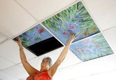 "Tapping into the growing ""arts in medicine"" movement, Healing Ceilings is replacing the cold white canopy of acoustic tile at Cancer Centers of North Carolina with seascapes, landscapes, floral and animal designs, one square at a time. High School Art, Middle School Art, Classe D'art, Ceiling Art, Ceiling Tiles, Atelier D Art, Ecole Art, School Art Projects, Group Art Projects"