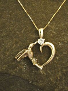 14K Gold and Diamond Hummingbird Heart Pendant on a 14K Gold Chain on Etsy, $870.00