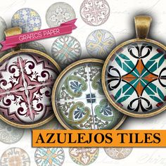 Arabesque Azulejos Tiles  digital collage sheet 1 by GraphicsPaper