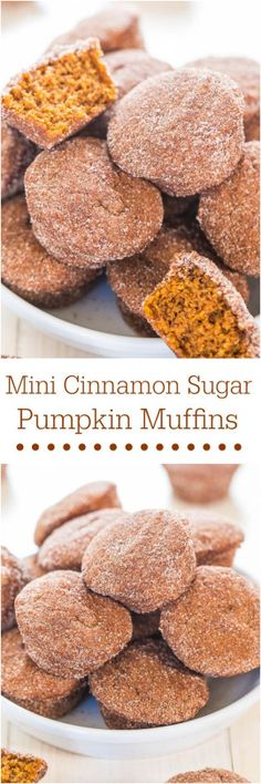 Mini Cinnamon Sugar Pumpkin Muffins - Soft little muffins that pack a big punch of pumpkin flavor! Mini food just tastes better!! YUM!