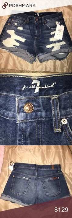 BRAND NEW 7 for all mankind denim shorts Brand new with tags 7 for all mankind distressed denim shorts. Never worn. Bought on vacation and i threw away the Nordstrom receipt before i realized they didn't fit (a bit too small for me). Might as well buy them for $60 less than retail! My loss is your gain lol 7 For All Mankind Shorts Jean Shorts