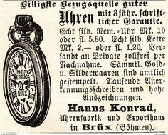 Werbung - Original-Werbung/ Anzeige 1901 - UHREN - HANNS KONRAD - BRÜX - BÖHMEN - ca. 45 x 30 mm