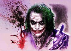 """Joker - Dark Knight / Character comic/ Film. Ilustración de Gonza VLK.  Frase: """"A veces hay hombres que no buscan nada lógico. Hombres que no buscan dinero. No puedes comprarlos, intimidarlos, convencerlos ni negociar con ellos. A veces hay hombres que solo quieren ver arder el mundo..."""""""