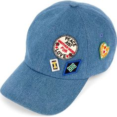 Tommy Hilfiger Gigi Hadid patch-detail denim cap found on Polyvore featuring accessories, hats, denim hat, red baseball cap, american hats, tommy hilfiger hats and bills hat