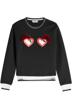 Cotton-Blend Sweatshirt with Hearts | Fendi