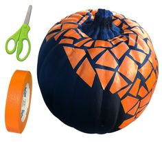 Mosaic Michael's  Pumpkin | or, Cut up pieces of masking tape, stick them on your pumpkin, spray paint your pumpkin black. Let dry, then peel the masking tape off and you have a mosaic pumpkin!