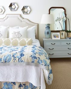 Interior designer Maggie Griffin's master bedroom has a blue and white color scheme