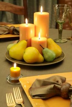 NellaBell's Idea Board. Inspiration for your daily decorating and much more...: Candles and Pears Centerpiece