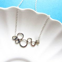 Sterling Silver Necklace with bubbles link, Minimal Collection, bridesmaid gift, bridal jewelry. $29.50, via Etsy.