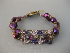 2 Strand Amethyst Brass Swarovski Bracelet Handmade - Beautiful, On Sale Now!