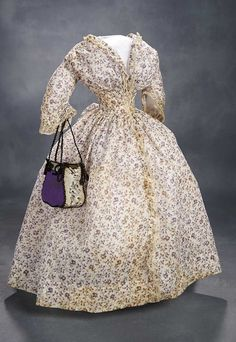 "Lady Doll's Muslin Gown with Delicate Transfer Print Pattern, with Early Embroidery Sac.  To fit 22-23"" doll with 8"" waist. 500/700"