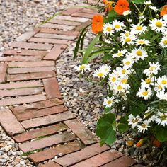 Brick and pebble garden path. More