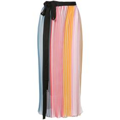 Tome Pleated Georgette Wrap Skirt ($995) ❤ liked on Polyvore featuring skirts, rainbow, tome, georgette skirt, colorful skirts, multi color skirt and multicolor skirt