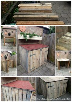 Tutorial: Pallet Storage Bin Project - All About Gardens Outdoor Storage Bin, Outside Storage, Pallet Storage, Wood Storage, Storage Bins, Recycling Storage, Bike Storage Ideas Diy, Bin Storage Ideas Wheelie, Recycled Pallets