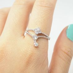 Silver movable monogram flowers ring