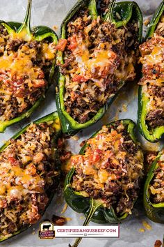 Poblano peppers filled with Southwestern seasoned ground beef, rice, salsa, and cheese. Make Beef Stuffed Poblano Bake for a delicious fiesta dinner. Ground Beef Recipes For Dinner, Dinner With Ground Beef, Dinner Recipes, Dinner Ideas, Beef Dishes, Food Dishes, Main Dishes, Pablano Pepper Recipe, Salsa