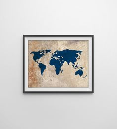 I want this hanging somewhere in my apartment...even like it without the frame  Rustic World Map Art Print - Rustic Vintage Style World Map Poster - Travel Decor - Earthy Art - Navy World Map - Nursery Decor