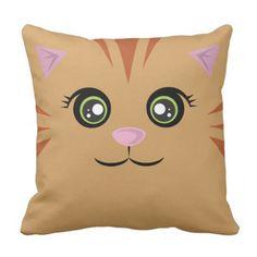 #Happy_Cat Pillow - Orange Tabby