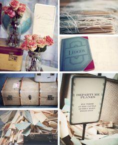 vintage suitcases, paper airplanes...