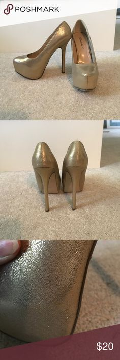 gold heels worn once and are in great condition. about 5-6 inches tall. feel free to ask any questions or make any offers (: Breckelles Shoes Platforms