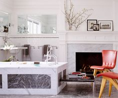 Charcoal Black + Crisp White + Cherry Red ... and oh, don't forget the fireplace!!