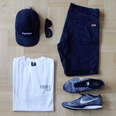 Outfitgrid - supreme cap / Carhartt shorts / Intruz tee / Nike Flyknit Racer shoes