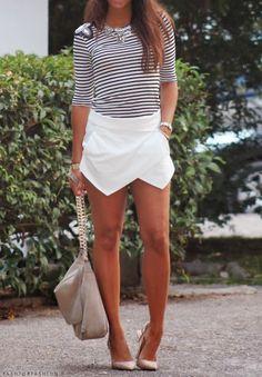 Mono shirty with asymmetric white skirt - Fash for Fashion