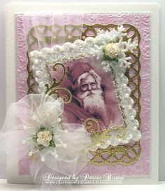 Using Spellbinders Lattice, and Scalloped Rectangles. Marianne Designs Flourishes and a vintage Santa image