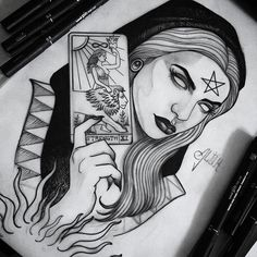 The tarot of lovers - - love Gothic Drawings, Mystical Tattoos, Art Drawings, Art Tattoo, Tattoo Art Drawings, Dark Tattoo, Girl Tattoos, Creepy Tattoos, Witch Tattoo
