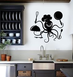 Wall Decal Positive Octopus Chef Kitchen Restaurant Vinyl Stickers (ig2916)
