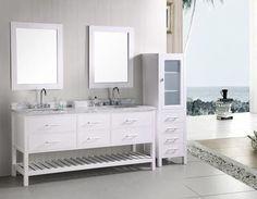 """London 72"""" Double Sink Vanity Set in White w/ Open Storage"""