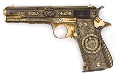 Star Super Model-A pistol formerly owned by famous singer Frank Sinatra,Likely gifted to Sinatra when he performed for a convention held by the Cosa Nostra (mafia) in Havana, Cuba in 1946.   It is mounted with solid silver grips and the entire pistol is inlaid with gold and silver in fantastic geometric designs, some of which are inlaid gold and others are damascened. The gold patterns are bordered by very fine silver wire that has been beaded. Both sides of the slide are inlaid with relief…