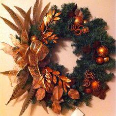 Burnt Orange/Brown Christmas wreath w/ pheasant feathers