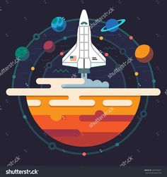 Space Illustration. Planets Of Solar System. Rocket Flying To Galaxy. Vector…